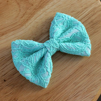 """4.5"""" mint lace hair bow, mint and white big hairbow, lace hair bow, fabric bow hair clip, mint hair bow, mint bows, hairbows"""