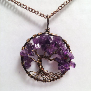Tree Of Life Necklace Amethyst Pendant Brown Chain Brown Wire Wrapped Tree Gemstone