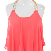 Plus Size Morning Crush Gold Chain Coral Top, Plus Size Clothing, Club Wear, Dresses, Tops, Sexy Trendy Plus Size Women Clothes