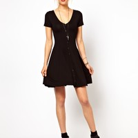 ASOS Skater Dress With Buttons And Short Sleeves