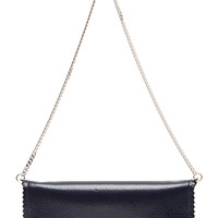 Textured Leather Wallet on a Chain in Navy