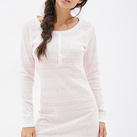 FOREVER 21 Owl Graphic Sleep Shirt Cream/Pink