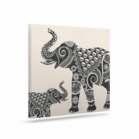 "Famenxt ""Ornate Indian Elephant-Boho"" Black Beige Canvas Art"