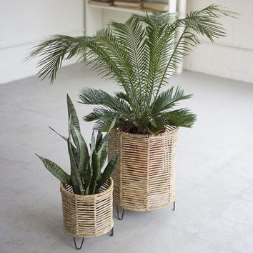 Woven Rush And Iron Baskets (Set of 2)