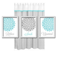 Relax Soak Unwind - Grey Gray Teal Blue - Flourish Flower Artwork Set of 3 Bathroom Prints Wall Decor Art Picture Match