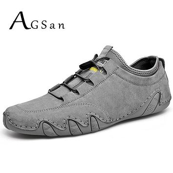 Summer Men Shoes Sneakers Cow Leather Casual Shoes Breathable Driving Moccasins Lace Up Krasovki Men's Shoes Outdoor Footwear