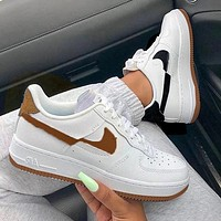 inseva NIKE Air Force1 off hook mandarin duck AF1 low-top sneakers Black Coffee
