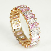 CZ Eternity Ring Vintage Cubic Zirconia Pink Ice Band