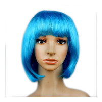 Women's Sexy Short Bob Cut Fancy Dress Wigs Play Costume Ladies Full Wig Party  sky blue