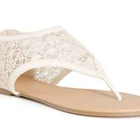 Charles Albert Lace Gladiator Sandals in White 13410-WHT