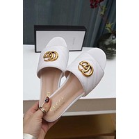 Gucci 2019 White Women Fashion Flats Slipper Sandals Shoes