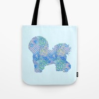 Bichon Frise Dog Vintage Floral Pattern Blue Green Turquoise Shabby Chic Tote Bag by Miao Miao Design
