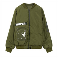 Army Green Super Patch Pocket Padded Jacket