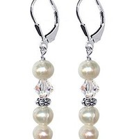 Sterling Silver 6mm Blue Freshwater Pearl with Clear Crystal Earrings Made with Swarovski Elements