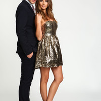 Gold Sequin Disco Flare Dress
