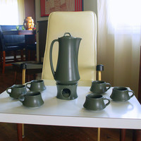 Modernism 1960s Vintage MINIMALIST MID CENTURY Modern Coffee Set with Pitcher Carafe Tea Light Warmer and 6 Mugs Muted Green Stoneware