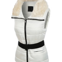LE3NO Womens Fully Padded Puffer Vest with Faux Fur Collar (CLEARANCE)