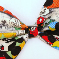 Mickey Mouse Comic Strip Hair Bow Vintage Inspired Hair Clip Rockabilly Pin up Teen Woman