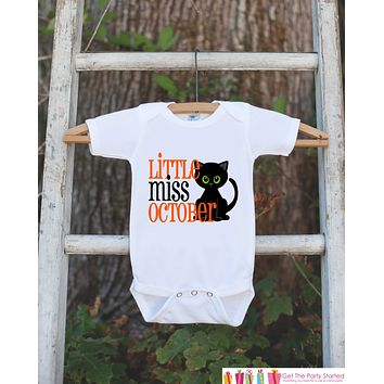 Little Miss October Onepiece Bodysuit - Take Home Outfit For Newborn Baby Girls - Orange & Black Cat Infant Going Home Hospital Onepiece