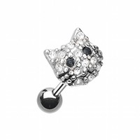 Adorable Kitty Multi-Gem Cartilage Tragus Earring