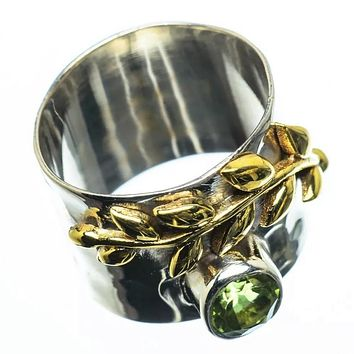 Peridot Sterling Silver Two Tone Band Ring
