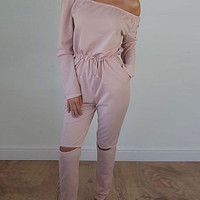 2016 Autumn/Winter Strapless Lace Off Shoulder Tube Jumpsuits with Long Sleeve