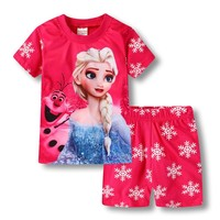 Baby Girl Clothes Snow Queen Anna Elsa Princess Sofia Minnie Hello Kitty Print Children Clothing Kids Girls T Shirts Top + Pants