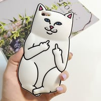 For iPhone 6/6S 5 5S/ 6 Plus /6S Plus Case Soft Rubber Cartoon Ripndipp Nermal Middle Finger Pocket Cat  Sillcon Back Cover Cute
