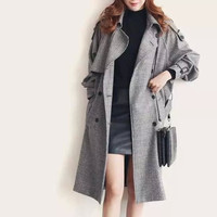 Gray Notched Tie-Waisted Trench Coat