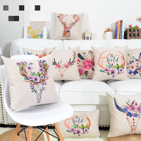 Nordic Illustration Painted Pillowcase Deer And Flower Waist Cushions Decorative Pillow Home Decor Sofa Throw Pillows 45*45