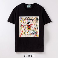 GUCCI New fashion letter floral print couple top t-shirt Black