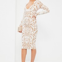 Missguided - White Bandage Patterned Strap Detail Bodycon Dress