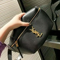 YSL Fashion New Leather Shopping Leisure Shoulder Bag Clutch Bag Women Black