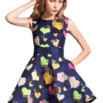 Colorful Heart Print Sleeveless Navy Blue Skater Dress with Lace Up Back