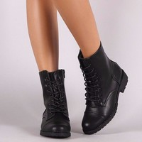 Combat Lace Up Ankle Boots