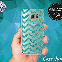 Blue Sparkle Chevron Pattern Glitter Cute Case for Clear Rubber Samsung Galaxy S6 and Samsung Galaxy S6 Edge Clear Cover