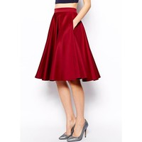 Sexy High-Waisted Solid Color Knee Skirt For Women
