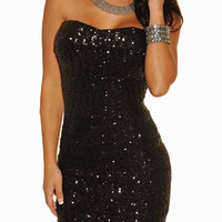 Black Strapless Seqiuined Bodycon Mini Dress
