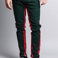Track Style Zippered Skinny Jean with Accent Band