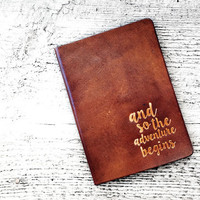 Leather Passport Cover Travel Wallet - And So The Adventure Begins - Passport Holder - Genuine Leather-  Wanderlust - Adventure is Out There