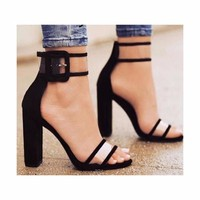 High Heels Clear Buckle Strap Sandals