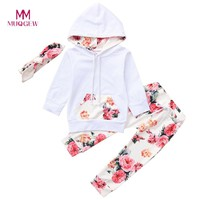 Infant Baby Boys Girls Clothes Long Sleeve Hooded Cotton Infant Baby Boys Girls Hooded Tops Floral Print Pants Outfits Set