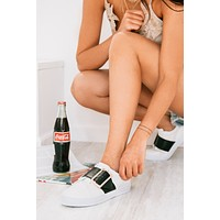 Buckle Up Black Strap Leather Sneakers (White)