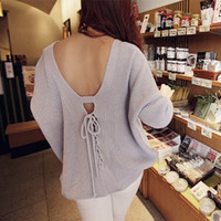 Sexy backless deep v-neck sweater  9325108