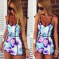 Feitong 2016 Fashion Jumpsuit Rompers Bodysuit Overalls For Womens Ladies Summer Sexy Deep V-Neck Floral Printed Shorts Playsuit