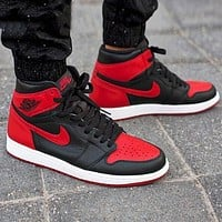 NIKE Air Jordan 1 Retro AJ1 Popular Women Men High Top Sport Sneakers Shoes Red