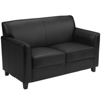 Flash Furniture HERCULES Diplomat Series Black Leather Loveseat [BT-827-2-BK-GG]