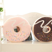[ 37x37Cm 2 Color ] Emoji high quality donuts plush cushion creative food plush toy kids doll office nap cookie pillow Kids gift