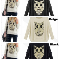 Winter Fashion Imitated Mohair Pullover Women Jumpers Knit Lovely Sequined Owl Design Autumn Knitting Confortable Women Batwing Sweaters = 1945934532