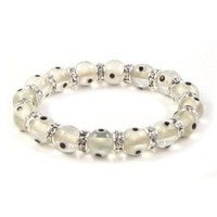 Christmas Gifts Bling Jewelry 10mm White Stretch Crystal Evil Eye Bracelet 7.5in